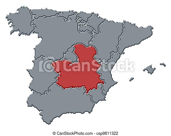 Map of spain castilela mancha highlighted Political map stock