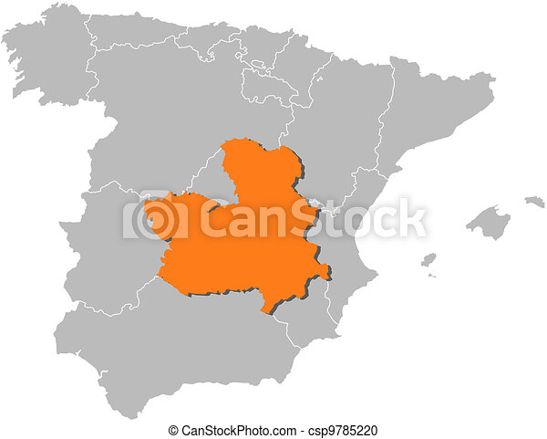 Map of spain, castile-la mancha highlighted. Political map of spain ...