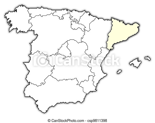Map Of Spain With Catalonia Highlighted.Map Of Spain Catalonia Highlighted