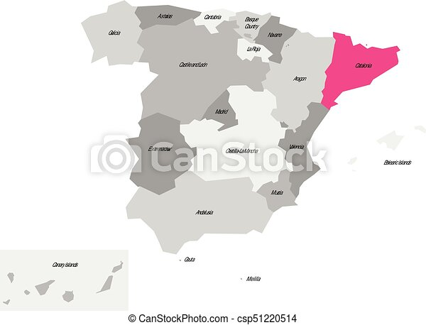 Map Of Spain With Catalonia Highlighted.Map Of Spain Devided To 17 Administrative Autonomous Communities With Pink Highlighted Catalonia Region Simple Flat Vector Map In Shades Of Grey