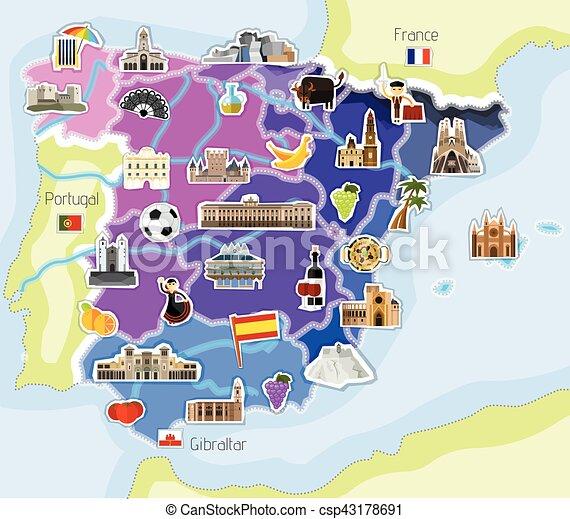 Map Of Spain Landmarks.Map Of Spain