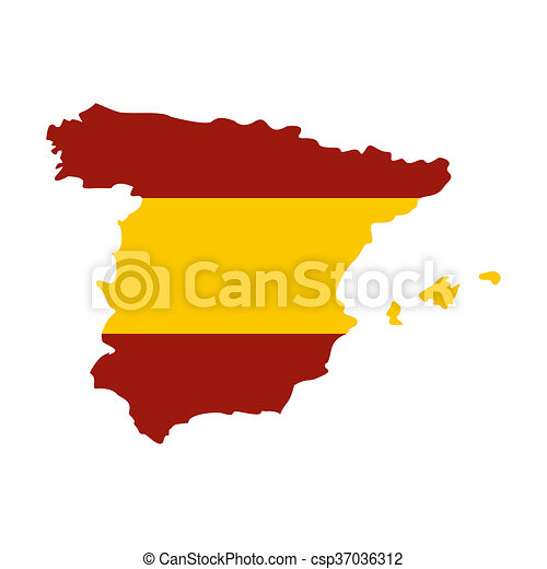 Spanish Map Of Spain.Map Of Spain In Spanish Flag Colors Icon