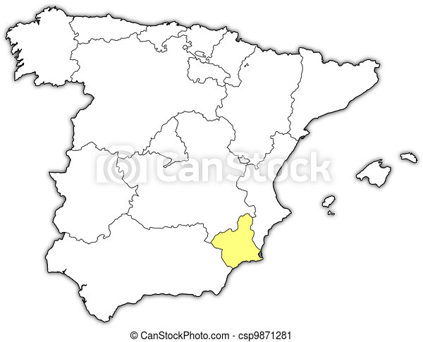Map Of Spain Murcia.Map Of Spain Murcia Highlighted