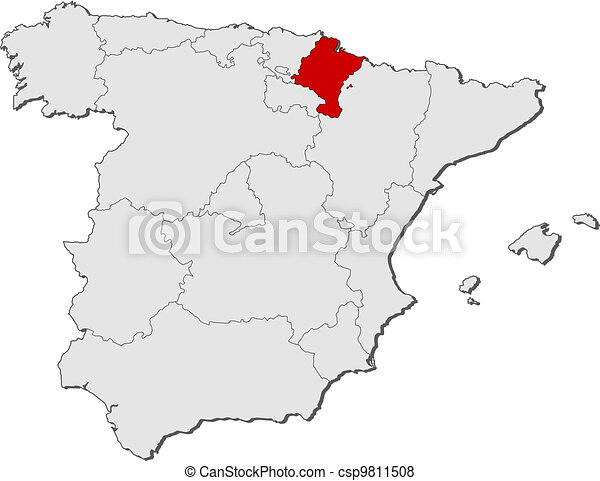 Map of spain, navarre highlighted. Political map of spain with the ...