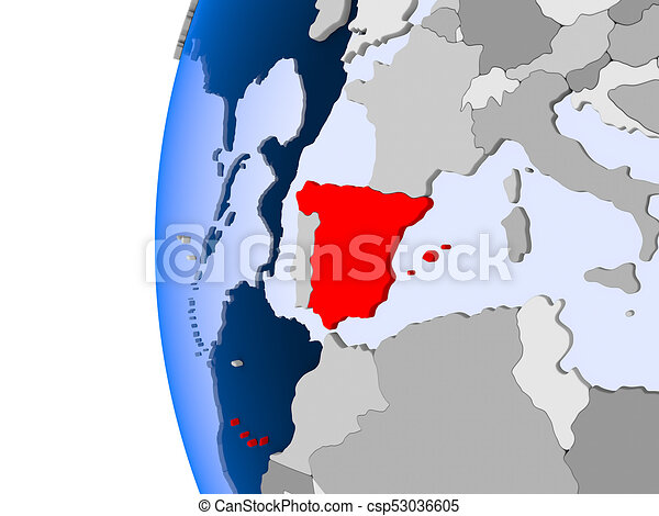 Map Of Spain Oceans.Map Of Spain On Political Globe