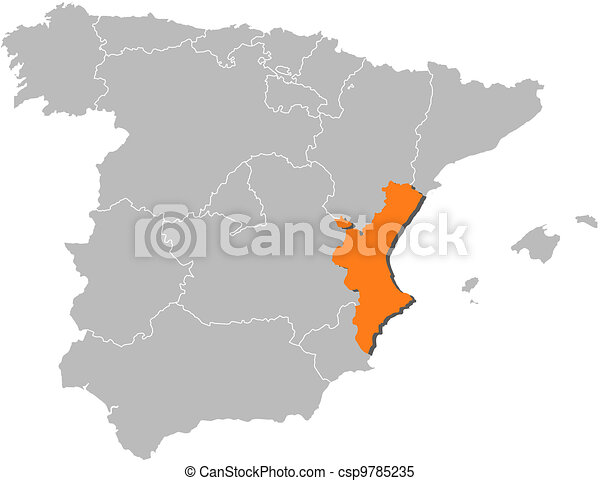 Map of Spain, Valencian Community highlighted - csp9785235