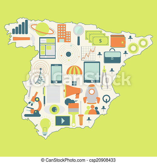 Elevation Map Of Spain.Map Of Spain With Technology Icons