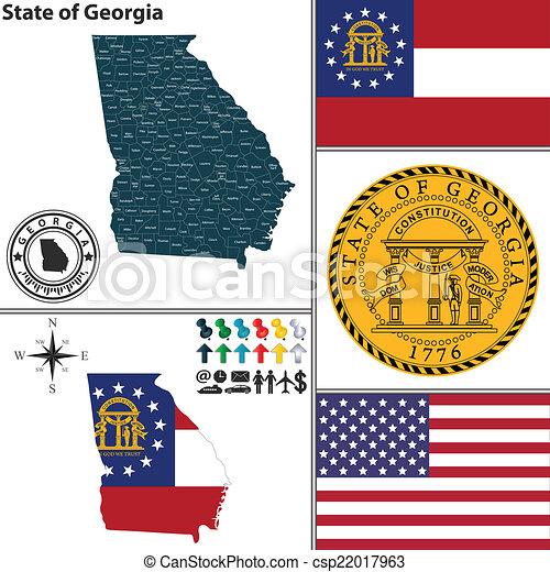 Map Of State Of Georgia Usa.Map Of State Georgia Usa