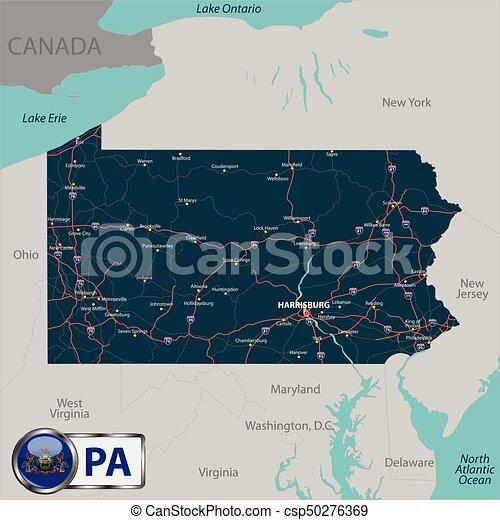 Map of state Pennsylvania, USA