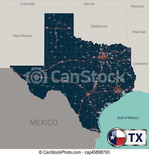 Map Of Louisiana And Texas With Cities.Map Of State Texas Usa