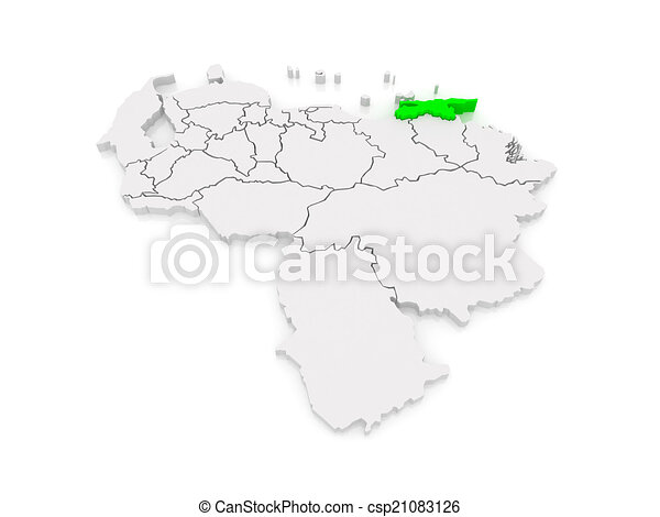 Map of sucre venezuela 3d clip art Search Illustration Drawings