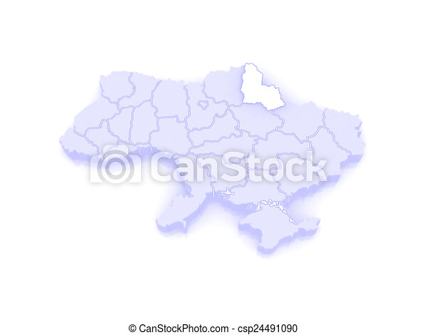 Map of sumy region ukraine 3d stock illustration Search Vector