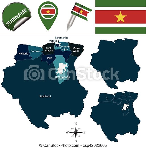 Vector map of suriname with named districts and travel icons clip