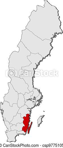 Map of Sweden, Kalmar County highlighted - csp9775105