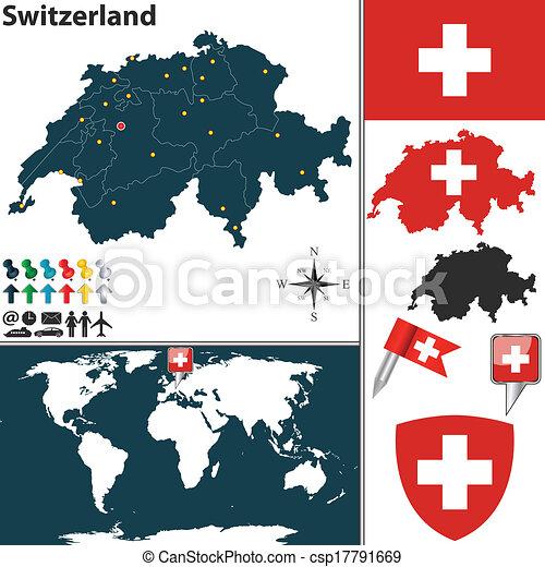 Map of Switzerland - csp17791669