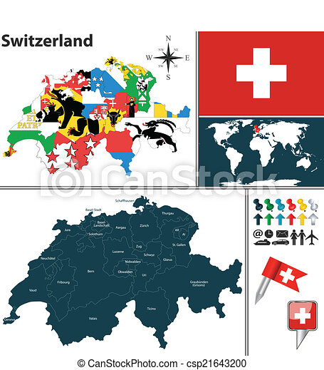 Map Of Switzerland Vector Map Of Switzerland With Regions With