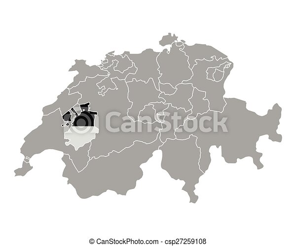 Map of switzerland with flag of fribourg vector clipart Search