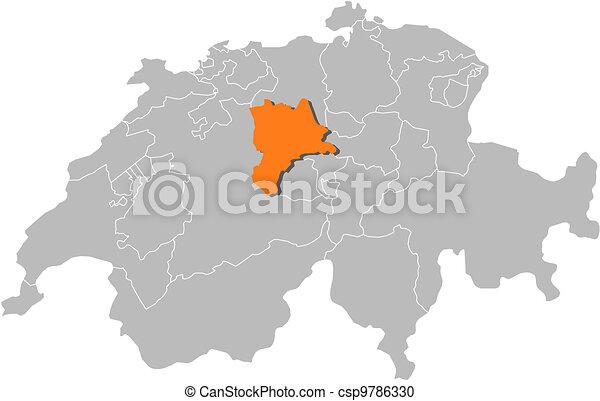 Map of Swizerland, Lucerne highlighted - csp9786330