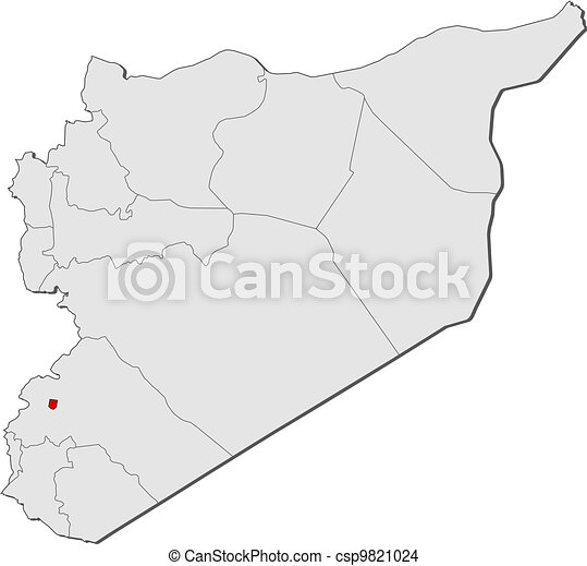 Map of syria, damascus highlighted. Political map of syria with the Damascus Map on