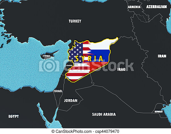 Usa And Russia Map.Map Of Syria Divided With Usa And Russia Flags With Surrounding