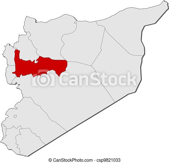 Map of syria, hama highlighted. Political map of syria with the ...