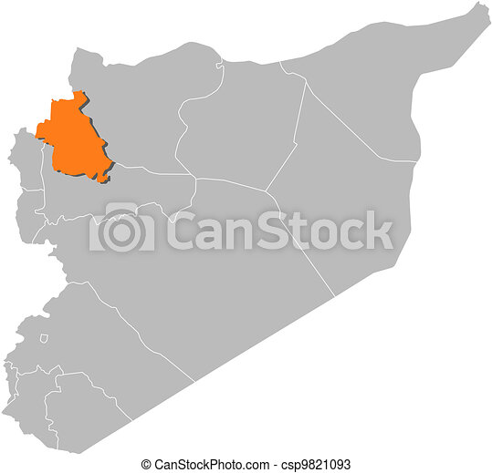 Map of syria, idlib highlighted. Political map of syria with the ...