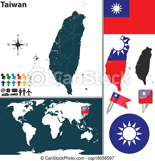 Map of taiwan. Vector map of taiwan with regions, coat of arms and ...