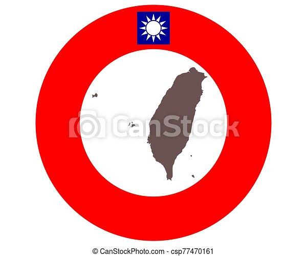 Map of Taiwan on background with flag - csp77470161