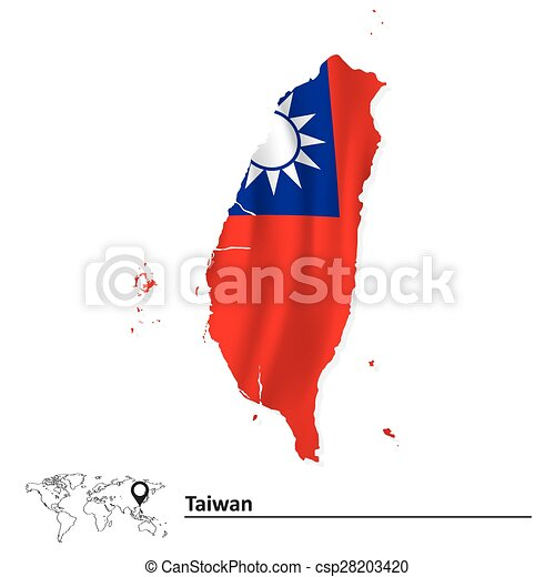 Map of Taiwan with flag - csp28203420