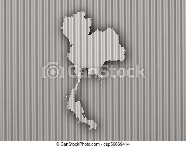 Map of Thailand on corrugated iron - csp56669414