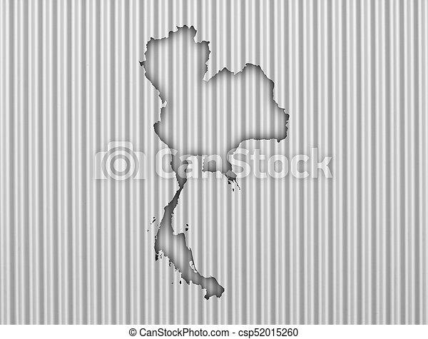 Map of Thailand on corrugated iron - csp52015260