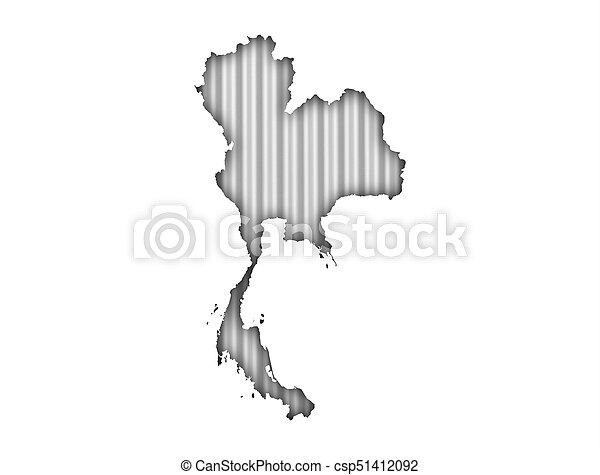 Map of Thailand on corrugated iron - csp51412092