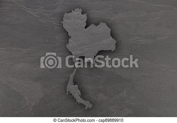 Map of Thailand on dark slate - csp89889910