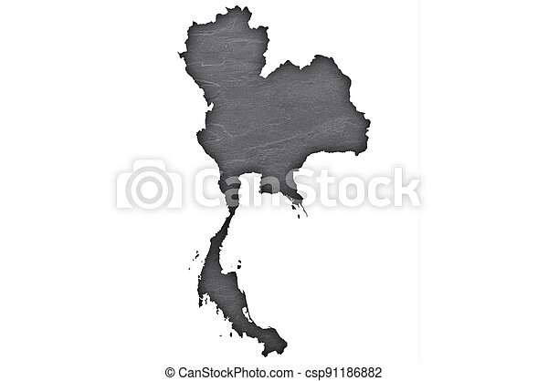 Map of Thailand on dark slate - csp91186882
