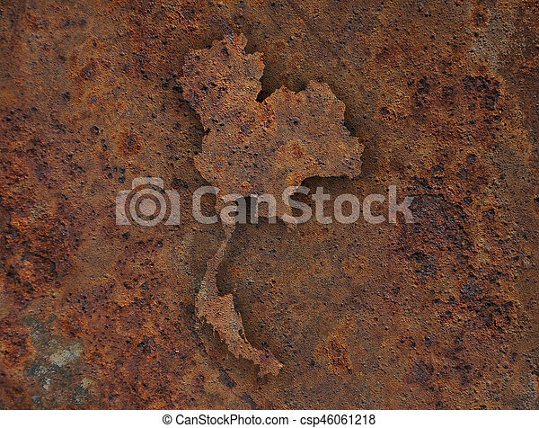 Map of Thailand on rusty metal - csp46061218