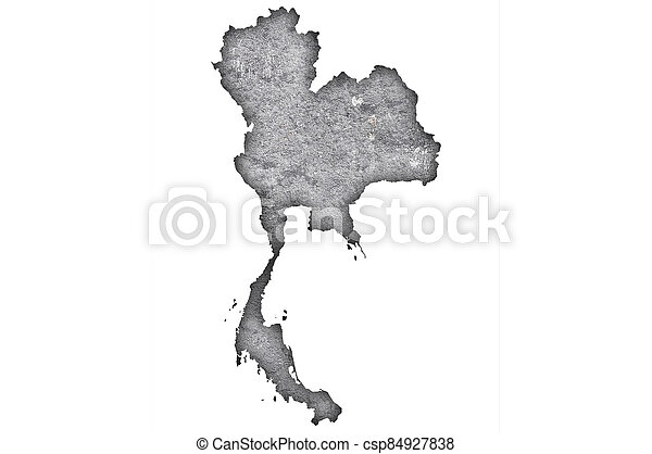 Map of Thailand on weathered concrete - csp84927838