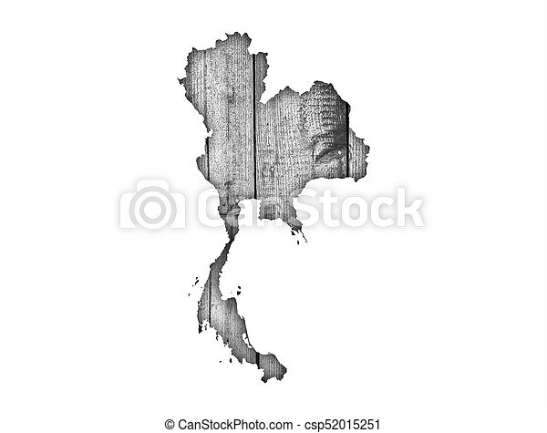 Map of Thailand on weathered wood - csp52015251
