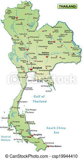 Map Of Thailand As An Overview Map In Pastel Green