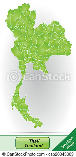 Map of thailand with borders in green.