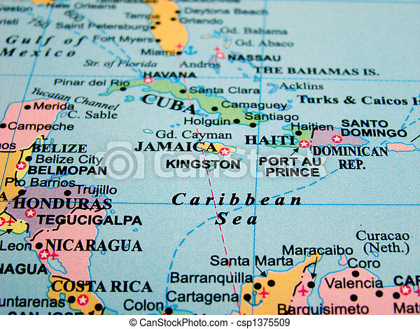 Stock Photographs Of Map Of The Caribbean Sea And Central America - Caribbean sea map