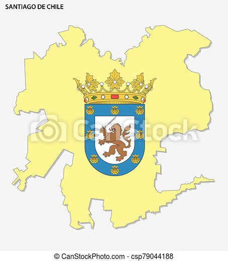 Map of the Chilean capital Santiago with coat of arms - csp79044188