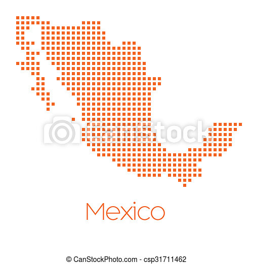 Map of the country of Mexico - csp31711462