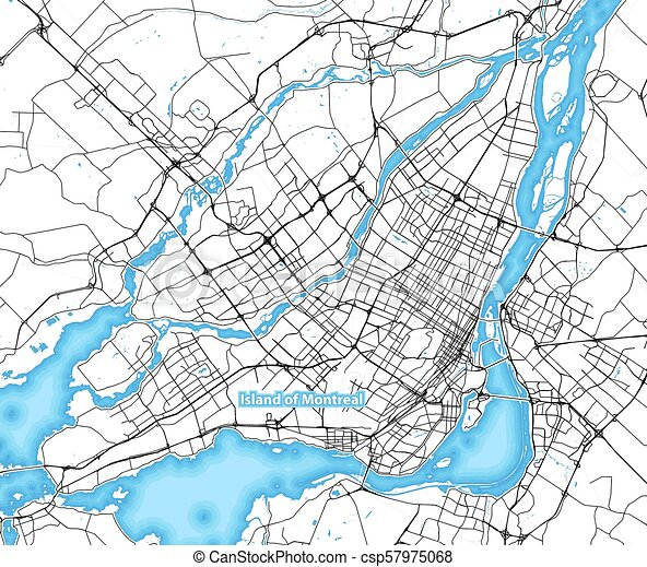 Map of the island of montreal, canada with the largest highways ...