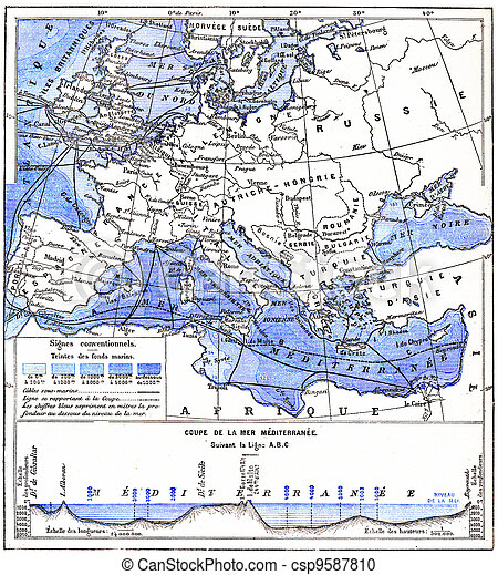 Map of the mediterranean sea and other waters of europe, vintage ...