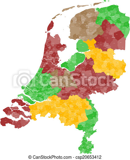 A large and detailed map of the netherlands with all vector clip