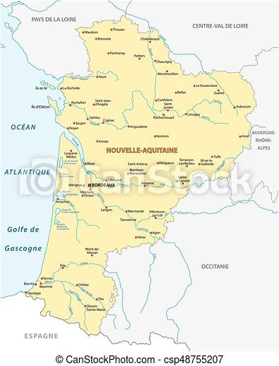 Map of the new french region nouvelleaquitaine in french vector