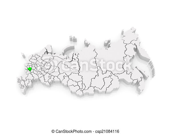 Map of the russian federation lipetsk region 3d clipart Search