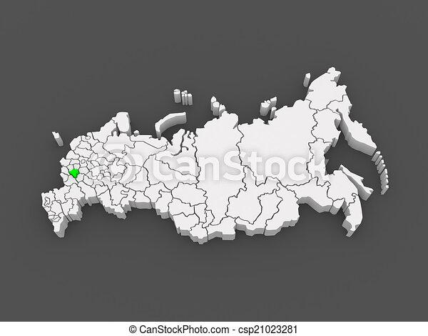 Map of the russian federation lipetsk region 3d stock illustration