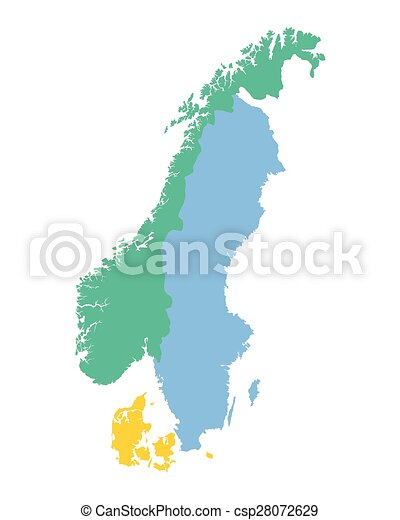 Vector Illustration Of Map Of The Scandinavian Countries Norway - Norway map drawing