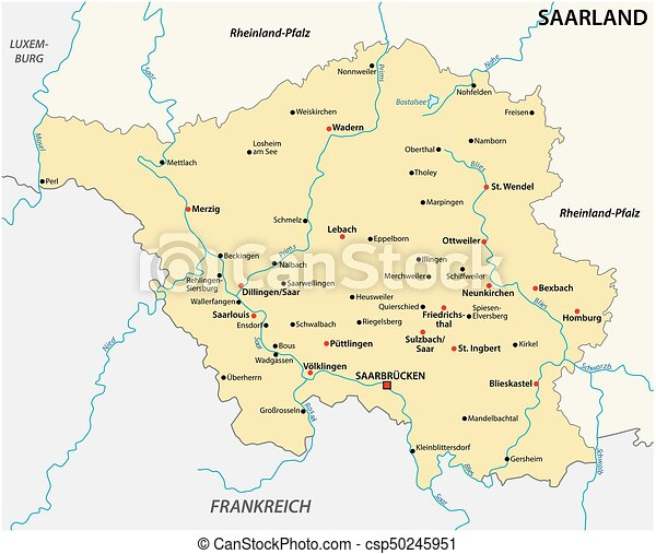 Map of the state of saarland with the most important cities